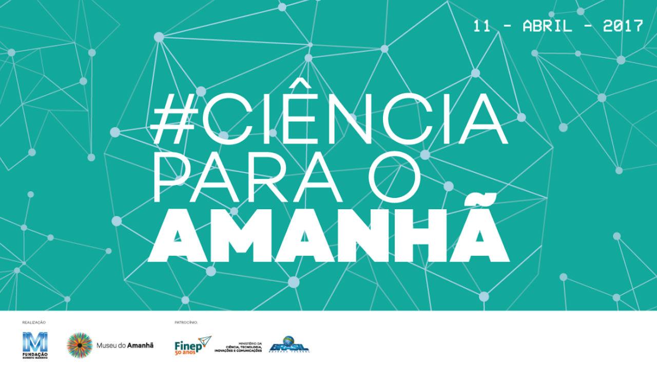 """Arte na cor azul clara com pontos de um lado ao outro com o nome """"Ciência para o Amanhã"""" no meio"""