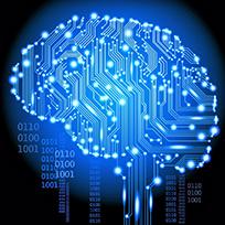 Ilustração em azul sobre fundo preto de cérebro feito de circuitos eletrônicos