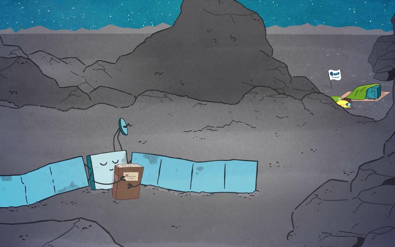 Imagem de animação sobre a missão Rosetta, com desenho da sonda em primeiro plano