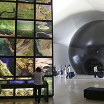 Cosmos, ao fundo, e o cubo Matéria, em primeiro plano: o início da Exposição Principal / Foto: Bernard Lessa - Museu do Amanhã