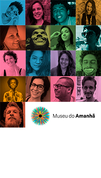 Painel colorido com fotos da equipe de educação do Museu do Amanhã. Ao todo são 17 colaboradores.