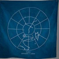 Pano azul com duas listras brancas uma à direita e outra à esquerda. No meio uma mandala de cor branca