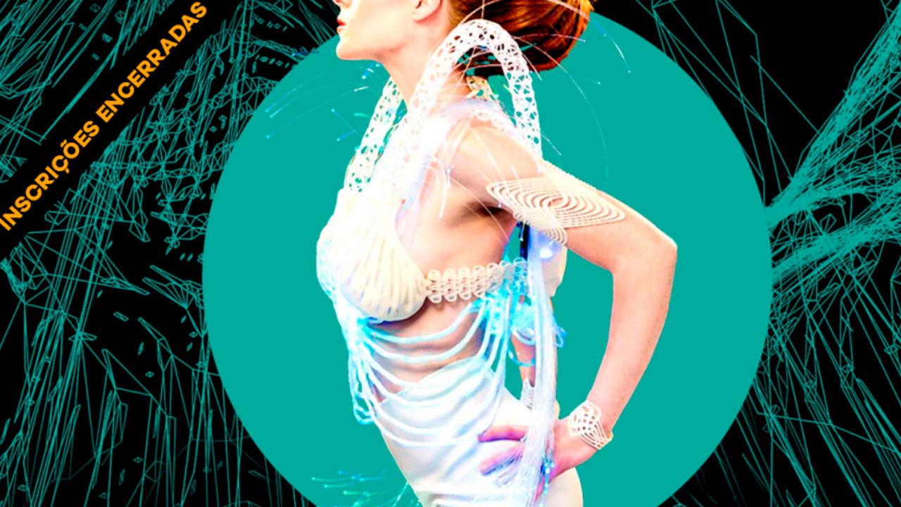 Arte de divulgação do Worshop Tecnologia Na.Moda com modelo de perfil de saia branca e top / Foto: Greg De Stefano Photography