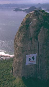 Imagem aérea do bondinho do Pão de Açúcar do Rio de Janeiro