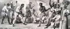Escravos jogam capoeira, em ilustração do século XIX feita por Laurent Deroy / Foto: Fundação Biblioteca Nacional