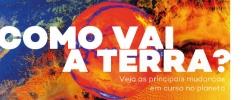 Ilustração da terra na cor laranja e azul | Museu do Amanhã