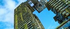 Prédios com plantas em sua arquitetura